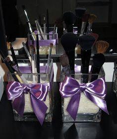 DIY Makeup Brush Holder (use ribbons to create bows)