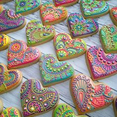 Hippie cookies henna paisley pastries wedding rainbow psychedelic