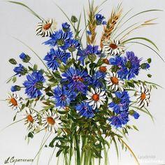 маслом цветы