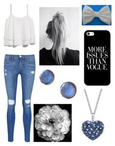 """""""Causally Blue and White! """" by forevercrazyfashiondivas ❤ liked on Polyvore featuring MANGO, Casetify, Frame Denim and Effy Jewelry"""