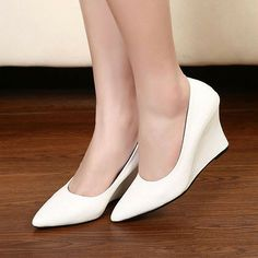 21497819d27 Office Ladies Pointed Toe Solid Color Wedge Heel Shoes Pumps from  littledaisy Shoes Heels Wedges