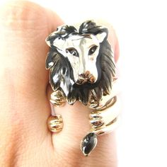 Adjustable Lion Animal Wrap Around Ring in Shiny Gold | DOTOLY