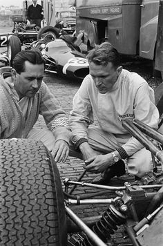 f1 964 Zandvoort, Jack Brabham and Dan Gurney and Jo Bonnier car at the back.