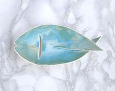 Porte-savon en céramique de poisson avec aqua glacis et gill drain porte-savon de trou en porcelaine, poisson porte-savon savon plat, poissons, avec glacis de trou, turquoise