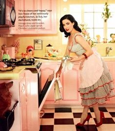 Dita Von Teese at home....I love this kitchen!!!