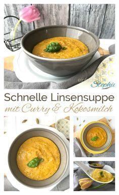 Schnelle Curry-Linsensuppe | Thermomix Rezept mit roten Linsen, Curry und Kokosmilch. Einfach wandelbar zu Linsencurry mit Reis. https://einfachstephie.de/2017/02/21/schnelle-curry-linsensuppe-thermomix-rezept/