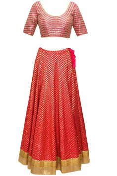 Pink brocade jaal lehenga with pink gota zari embroidered blouse available only at Pernia's Pop-Up Shop.