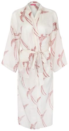 Hand printed dressing gown Long Tailed Bird Red on White: http://www.susannahcotton.co.uk/store/ #kimono