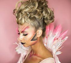 Coachella-inspired Flamingo Halloween makeup! Fun pink makeup to match your Halloween costume.