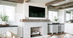 Hide Tv Over Fireplace, Above Fireplace Ideas, Basement Fireplace, Simple Fireplace, Family Room Fireplace, Fireplace Built Ins, Wood Fireplace, Fireplace Design, Fireplaces