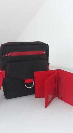 Sacoche Jive et portefeuille Compère assortis rouges et noirs cousus par Amélie - Patrons couture Sacôtin