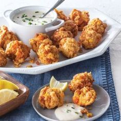 Mini Crawfish and Corn Fritters Crawfish Recipes, Cajun Recipes, Seafood Recipes, Appetizer Recipes, Appetizers, Crawfish Cornbread, Corn Fritter Recipes, Cajun Cooking, Corn Fritters