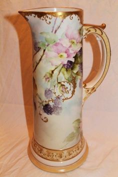 RARE FIND ~ Truly Magnificent Antique American Belleek HUGE Tankard Pitcher ~ Breathtaking Hand Painted Blackberries ~ Museum Quality ~ Mast...