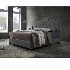 Earp Transitional Grey Fabric Upholstered Button Tufted Bed-Full/Queen - Overstock Shopping - Great Deals on Baxton Studio Beds