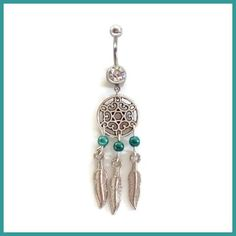Dream Catcher Belly Ring with Green Bead Accents With Feathers on Etsy, $14.95