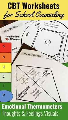 Reusable Cognitive Behavioral CBT Worksheets to support elementary school students make the connection between feelings, thoughts and actions. Activities support behavior change in students by allowing them to see behavior patterns in a concrete way. Thes