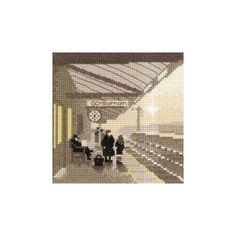 A sepia toned silhouette stitch from Heritage Crafts, a nostalgic design that will transport you back in time. The platform scene features some people. Heritage Crafts, Back In Time, Cross Stitch Kits, Past, Waiting, Louvre, Platform, Scene, Silhouette