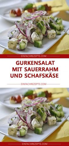 Cucumber salad with sour cream and sheep cheese ? Informations About Gurkensalat mit Sauerrahm und Schafskäse ? Creamy Cucumber Salad, Creamy Cucumbers, Salads For A Crowd, Easy Salads, Chicken Salad Recipes, Healthy Salad Recipes, Shrimp Recipes, Sheep Cheese, Mediterranean Quinoa Salad