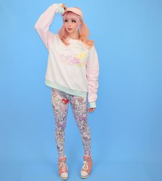 """Tonight"" fairy kei pastel sweatshirt by Japanese brand Milklim with moon and bunny print and the words ""Milklim Magical"". Size guide: Tag says Japanese M. Would best fit a western size S-L. Will fit up to a UK Harajuku Girls, Harajuku Fashion, Kawaii Fashion, Liz Lisa, Sanrio Hello Kitty, Little Twin Stars, Japanese Outfits, Kawaii Clothes, Japanese Street Fashion"