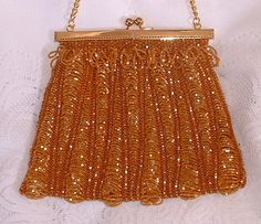 Topaz Satin beaded knitted purse