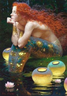 Red-Headed Mermaid & Lanterns~Repinned Via Nancy Lake