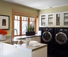 Laundry Mud Rooms - Design photos, ideas and inspiration. Amazing gallery of interior design and decorating ideas of Laundry Mud Rooms in laundry/mudrooms by elite interior designers. Laundry Room Wall Decor, Mudroom Laundry Room, Laundry Room Cabinets, Laundry Room Signs, Laundry Room Organization, Laundry Area, Cupboards, White Cabinets, Glass Cabinets