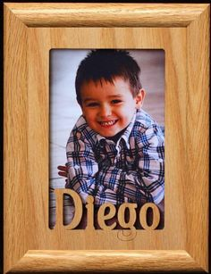 5x7 Diego  Portrait Laser Cut Oak PHOTO NAME FRAME  Holds a 4x6 or 5x7 Picture *** Learn more by visiting the image link.