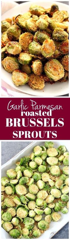 Garlic Parmesan Roasted Brussels Sprouts Recipe - fragrant and flavorful vegetable side dish. Perfectly roasted Brussels sprouts with Parmesan breadcrumbs coating and spices. Sprout Recipes, Vegetable Recipes, Vegetarian Recipes, Cooking Recipes, Healthy Recipes, Roast Recipes, Food52 Recipes, Keto Recipes, Sweets Recipes
