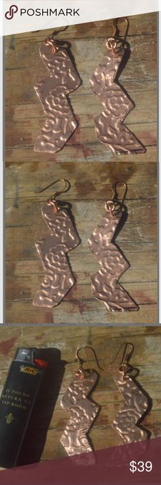 e59247a6bdd3 Big Statement Zig Zag Copper Embossed Earrings Thank you for looking at  this brand new primitive