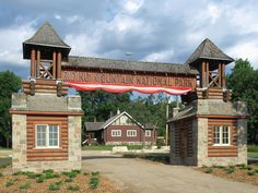 The East Gate of Riding Mountain National Park in Manitoba, Canada, was built in 1935 as part of a depression era relief project. Riding Mountain National Park, Depression, Gate, Road Trip, Canada, Cabin, Mansions, House Styles, Building
