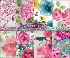 Watercolor Flowers Digital Scrapbook Paper Roses by KARUDIMA
