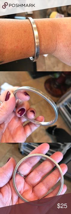 Plane sterling silver bangle. Sterling silver plain heavy bangle bracelet. 28.5 g of silver. Would fit a wrist of 6.25 and smaller. Jewelry Bracelets