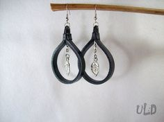 Black Leather earringsCircle by UniqueLeatherDesign on Etsy