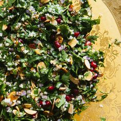 Pomegranate and Almond Tabbouleh. Recipe from Chef Alon Shaya of Shaya, New Orleans, Louisiana. Photo by Rush Jagoe. Soup Recipes, Salad Recipes, Cooking Recipes, Healthy Recipes, Chefs, Preserved Lemons, Middle Eastern Recipes, Sliced Almonds, Pomegranate