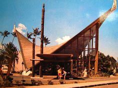 The Hyperbolic Parabolid shaped lobby of the Waikikian Hotel in Honolulu (demolished 1997), a stunning example of Tropical Space Age.