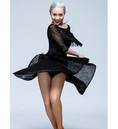 808532b2b Black colored women's ladies female competition professional long sleeves  tassels latin samba salsa cha cha dance dresses