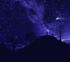 """Frank Wilson """"Starry Couple Pointing""""  (Glow Canvas Wall Mural  10 feet wide x 8 feet tall)  Very cool.... gotta try it."""
