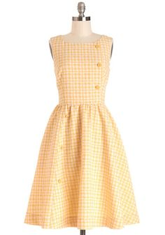 Picnic Poise Dress by Myrtlewood - Woven, Long, Yellow, White, Checkered / Gingham, Buttons, Daytime Party, A-line, Sleeveless, Better, Pock...