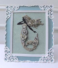 Rhinestone Mermaid Jewelry Art collage bejeweled Assemblage