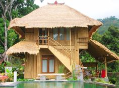 Unique Bamboo House Minimalist and Modern. Please read the article Unique Bamboo House Minimalist and Modern more at Home Design Architectures Bamboo Architecture, Architecture Design, Exterior Design, Interior And Exterior, Filipino House, Bamboo House Design, Hut House, Philippine Houses, Villa