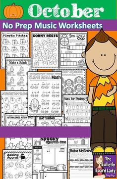 Make October ROCK with this collection of music worksheets! You'll love this set of 44 no prep music worksheets. It is great to use for homework, large group work, centers or workstations, sub plans and assessment. Piano and voice teachers may find this packet useful for theory work in addition to their regular lessons.