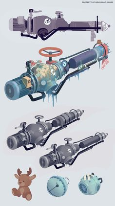 Artes do game Sunset Overdrive, da Insomniac Games Weapon Concept Art, Game Concept, Character Concept, Character Design, Character Art, Sunset Overdrive, Prop Design, Game Design, Fallout