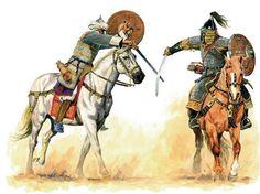 Muslim Mamluk horseman battling a Mongol at the Battle of Ain Jalut on 03 September, 1260.