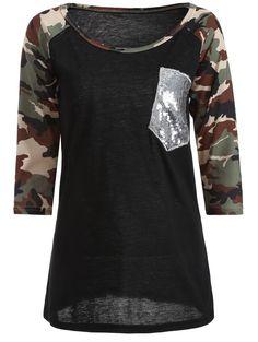 Camo Embellished Raglan Sleeve T-Shirt