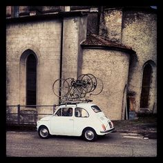 Fiat 500, bikes. The little car that could.