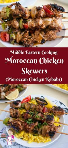 Moroccan Chicken Skewers Recipe - A must-try recipe for grilled chicken! Packed with Middle Eastern flavor such as cumin, cinnamon and turmeric these make an absolute treat served with rice or just pita bread and tahina. Grilled Chicken Recipes, Chicken Flavors, Easy Chicken Recipes, Turkey Recipes, Rice Recipes, Chicken Meals, Fast Recipes, Moroccan Chicken, Chicken Skewers