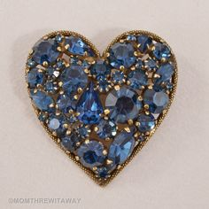 Divine Vintage RARE WEISS Blue Encrusted Chunky RHINESTONE HEART PIN Must See