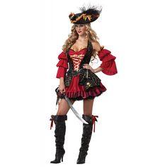 Fantasia Feminina Pirata Luxo Traje para Festa a Fantasia                                                                                                                                                                                 Mais