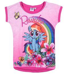 Hasbro My Little Pony Girls short sleeve Cotton Top, T-Shirt 3-10 years - Fushia, Rainbow Dash