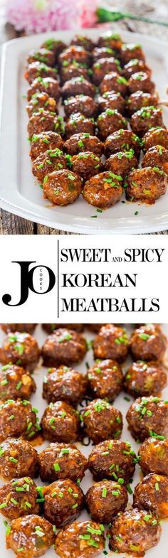 These Sweet and Spicy Korean Meatballs will change your life. They're made with lean beef, flavored with garlic and Sriracha sauce, baked without the hassle of frying and glazed with a spicy apricot glaze. (meals with beef) Meatball Recipes, Meat Recipes, Asian Recipes, Appetizer Recipes, Dinner Recipes, Cooking Recipes, Paleo Recipes, Dinner Ideas, Shrimp Recipes